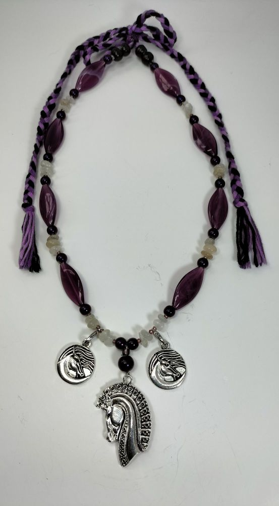 Necklace - Horse Spirit. Moonstone. Freedom, Happiness and Good Fortune. Power and Stamina.