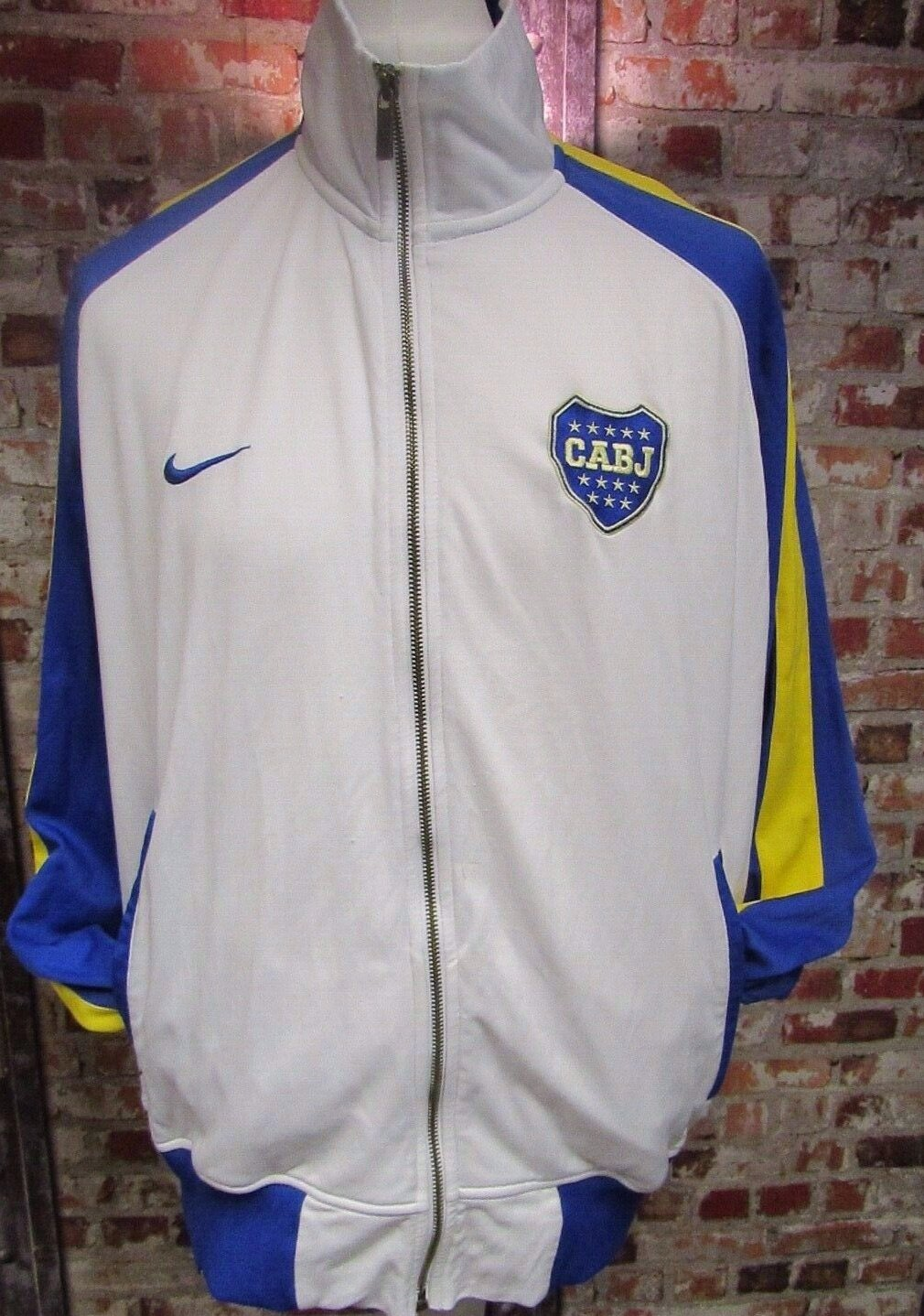 Nike Boca Juniors Mens Track Jacket White, Blue and Yellow Size XL