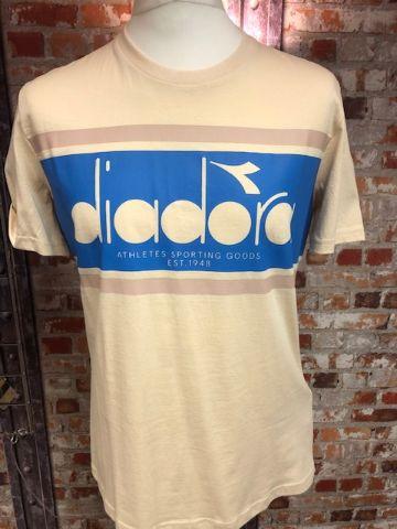 Diadora Retro Soccer T-Shirt Cream Size Medium