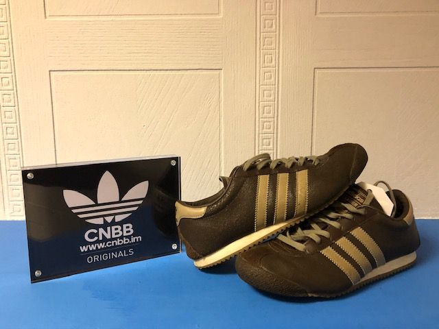 Vintage adidas Leader Brown Leather Trainers Size 3.5 UK
