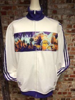 adidas Originals La Lakers 2010 Track Jacket White and Purple Size Extra Large
