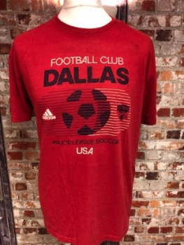 adidas Dallas Official MLS Retro T-Shirt Red Size Large