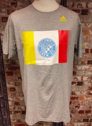 adidas Colombus Crew Official MLS Retro T-Shirt Grey Size Large