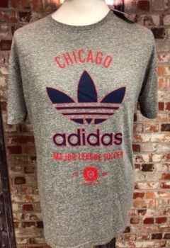 adidas Chicago Fire Official MLS Retro T-Shirt Grey Size Large