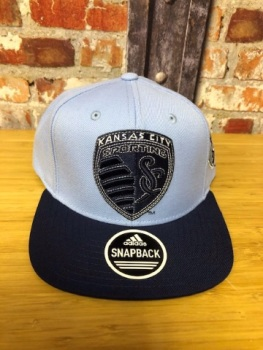 adidas Kansas City Retro Official MLS Snap Back Cap Sky Blue and Navy