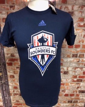 adidas Seattle Sounders  MLS Retro T-Shirt Navy Size Small