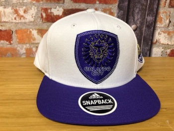 adidas Orlando City Retro Snap Back Official MLS Adjustable Cap White and Purple