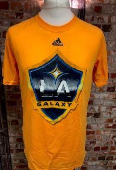adidas LA Galaxy  Official MLS Clima Lite  T-Shirt Orange Size Medium