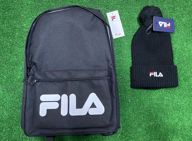 Fila Retro Backpack and Bobble Hat Set Black