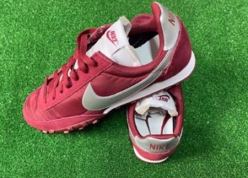 Nike Waffle Racer Leather and Shell Trainers Burgundy & Silver Size 10