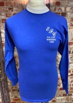 Everton Scoredraw 1966 FA Cup Winners Long Sleeve Home Shirt Size Small