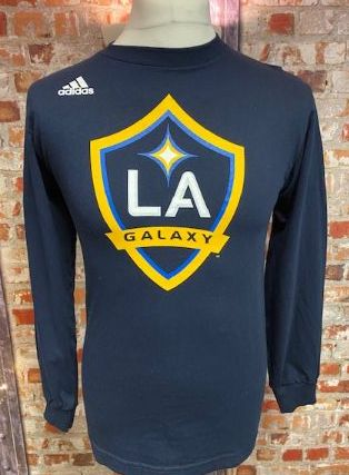 adidas LA Galaxy  Official MLS Retro Long Sleeve T-Shirt Navy Size Small