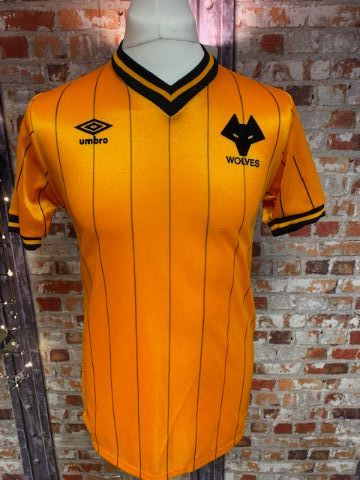 Vintage Wolves 1982/86 Home Shirt Orange and Black Size Medium