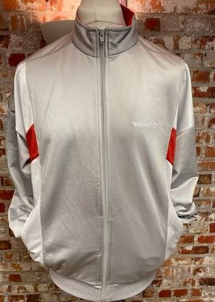 adidas Russia Vintage Track Jacket Silver Red and White Size L/XL