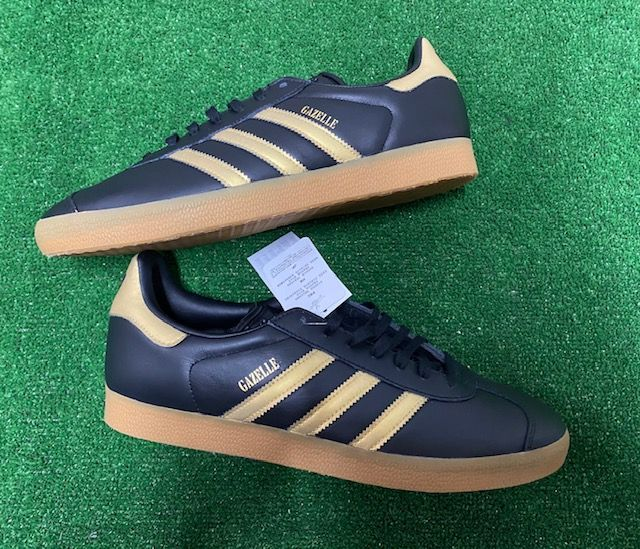 adidas Gazelle Leather Custom Trainers Black and Gold Size 11 UK