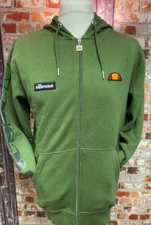 Ellesse Full Zip Khaki Green Carlint Retro Hoody Size Medium