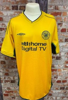 2002/03 Celtic Umbro Away Shirt Yellow and Green Size 30/32''