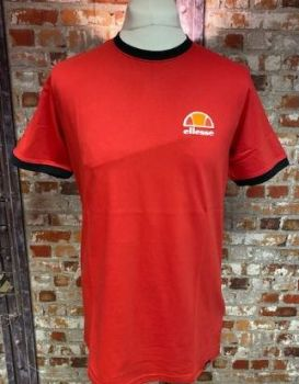 Ellesse Retro Cubist Casual TShirt Red and Navy size Medium