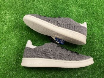 adidas Stan Smith Ladies Prime Knit Trainers Grey and White Size 4