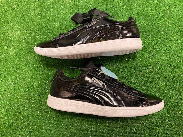 Puma Ribbon Ladies Retro Trainers Black and White Size 4