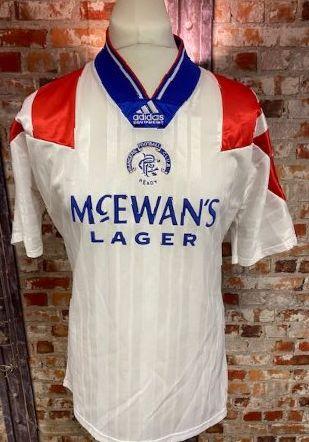 1992/93 Glasgow Rangers Away Shirt White & Red Size Size Medium