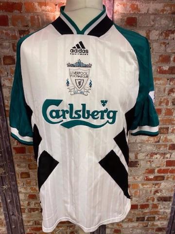 1993/94 Liverpool adidas Away Shirt Green and White (RUDDOCK) Size Large