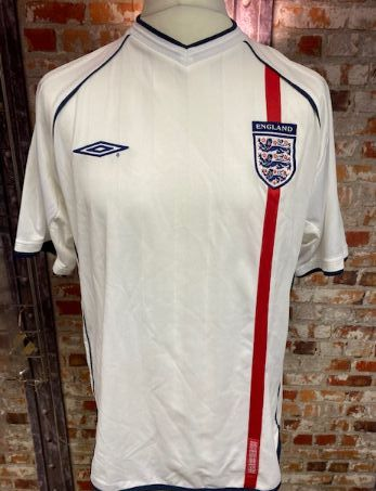 2002 England Umbro Home Shirt White and Red Size L