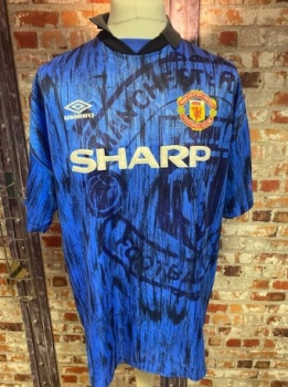 1992/93 Umbro Manchester United Away Shirt Blue Size XL