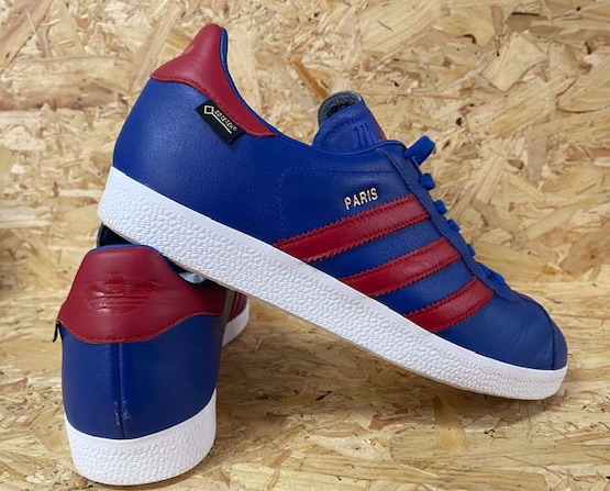 adidas Paris Gazelle GTX Trainers Blue and Red Size 8