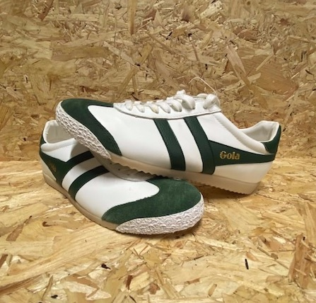 Gola Harrier Leather Classic Trainers White and Green  Size 6