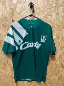 1991/92 Liverpool adidas Away Shirt Green and White Size Medium