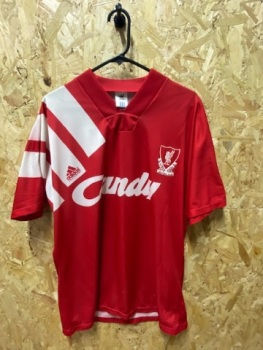 1991/92 Liverpool adidas Home Shirt Red and White Size Medium