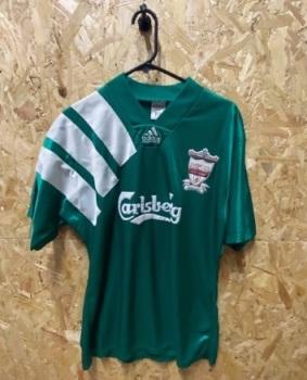 1992/93 Liverpool adidas Centenary Away Shirt Green Size Large
