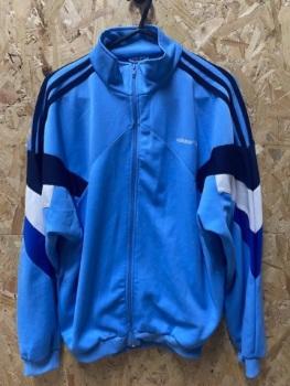 adidas 90's Vintage Track Jacket Sky Blue & Navy  Size Large