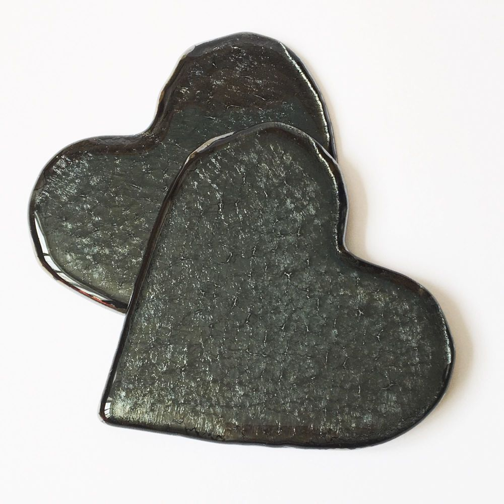 Pair of Black Patterned Heart Coasters
