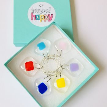 Rainbow square Glass Charms