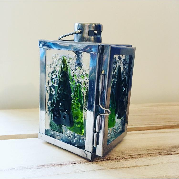 Silver Mini Lantern - Snowy Trees. *made to order*