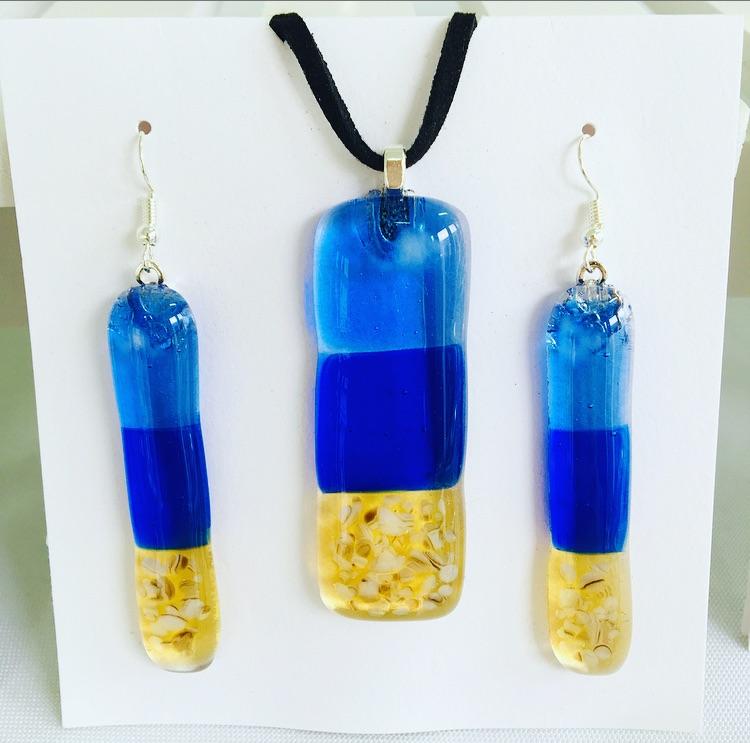 Sand, Sea & Sky necklace & earrings set