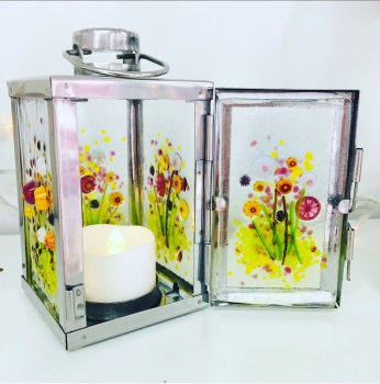 Silver Mini Lantern - Flower Meadow