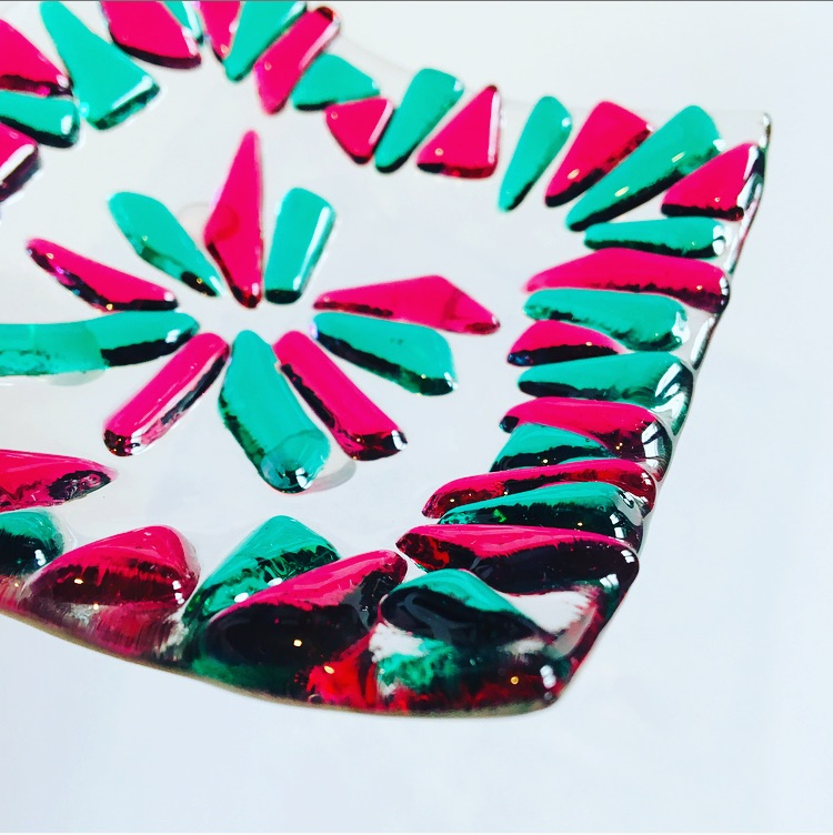 Pink and emerald dish