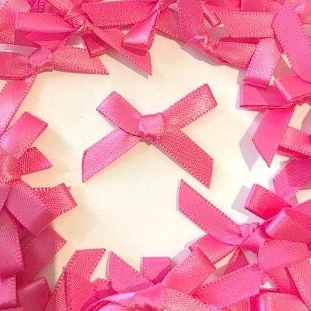Mini Satin Fabric 7mm Ribbon Bows - Cerise Pink