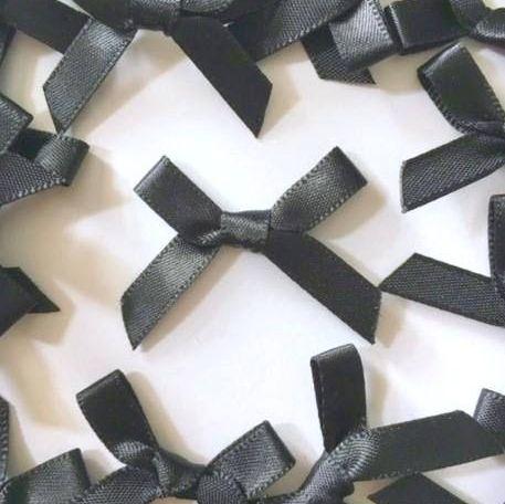 Mini Satin Fabric 7mm Ribbon Bows - Black