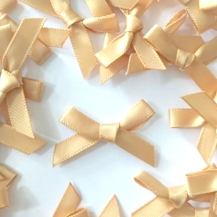 Mini Satin Fabric 7mm Ribbon Bows - Antique Gold