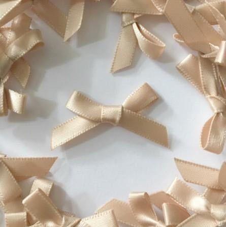 Mini Satin Fabric 7mm Ribbon Bows - Lemon