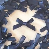 Mini Satin Fabric 7mm Ribbon Bows - Navy Blue