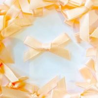 Mini Satin Fabric 7mm Ribbon Bows - Peach