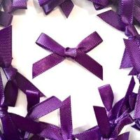 Mini Satin Fabric 7mm Ribbon Bows - Purple