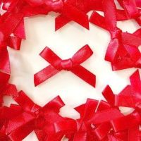 Mini Satin Fabric 7mm Ribbon Bows - Red