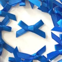 Mini Satin Fabric 7mm Ribbon Bows - Royal Blue