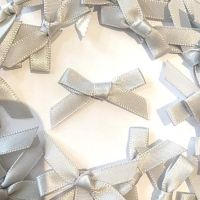 Mini Satin Fabric 7mm Ribbon Bows - Silver Grey